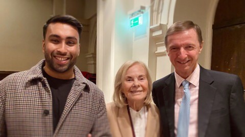 Minhaz Abedin with HRH The Duchess of Kent and Nicholas Robinson, co-founders and trustees of Future Talent